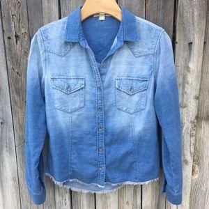 Cloth & Stone Two Tone Raw Hem Shirt Blue XS